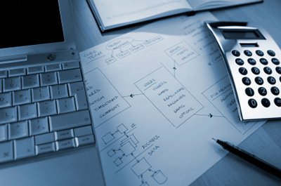 Computer, calculator and block diagram sketch