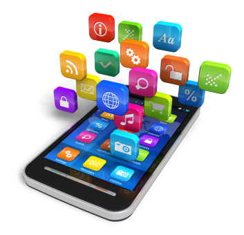 Touchscreen smartphone with cloud of colourful application icons