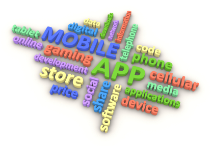 Tag cloud of words associated with mobile phones and apps